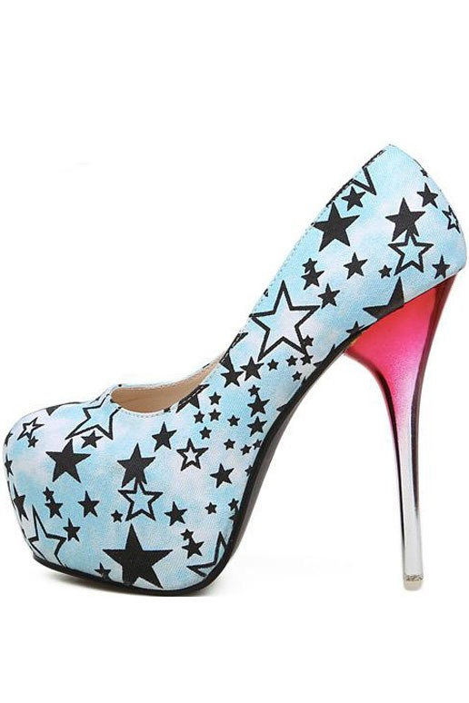 Light Blue Stars Print Pump Gradient Heels