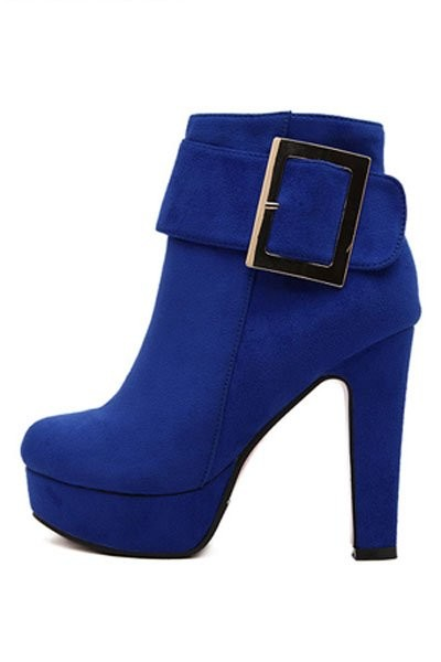Blue Suede Buckle Accent Booties