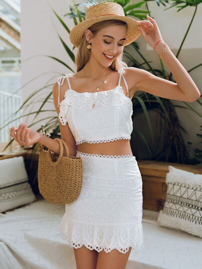 Knot Straps Eyelet Embroidery Cami Top & Skirts Set