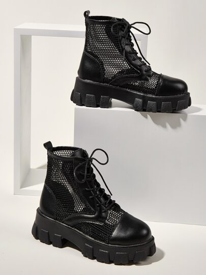 Lace-up Front Hollow Out Ankle Boots