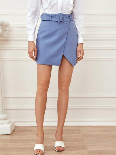 Solid Belted Wrap Skirt