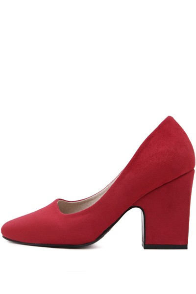 Red Suede Square Toe Chunky Pump Heels
