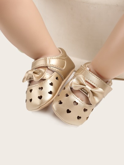 Baby Girl Bow Decor Hollow Out Flats