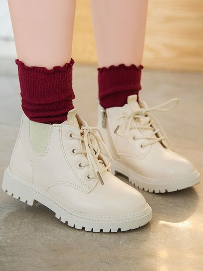Girls Lace-up Front Ankle Boots