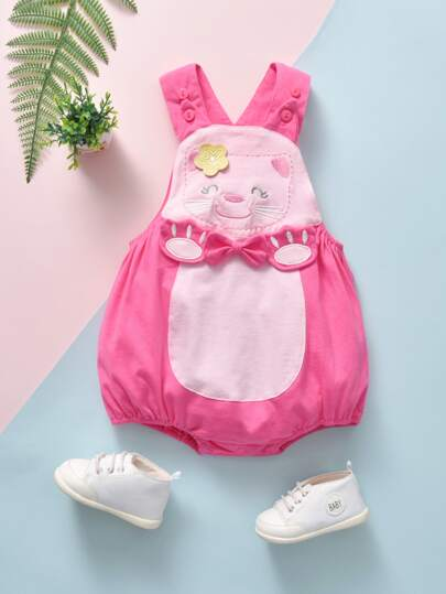 Baby Girl Cat Embroidered 3D Design Overall Bodysuit