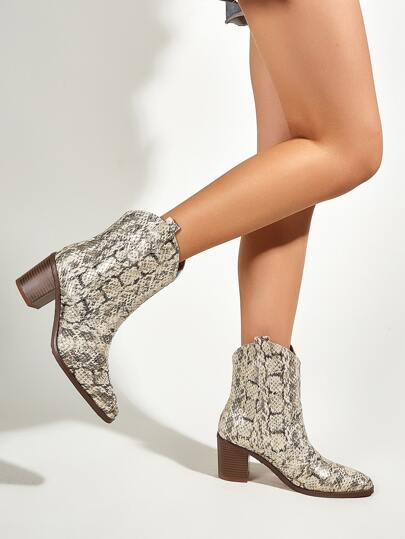 Snakeskin Print Chunky Heeled Boots