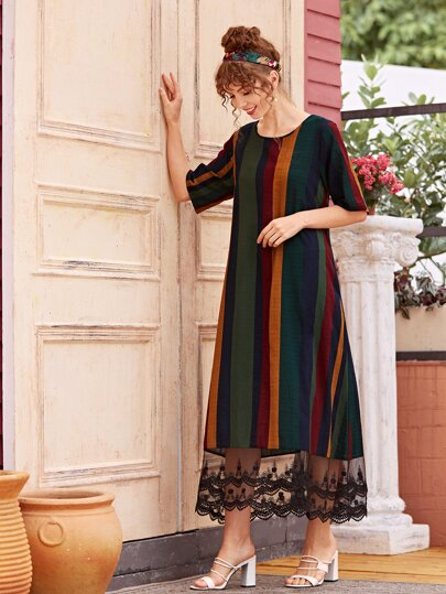 Lace Panel Vertical Striped Dress