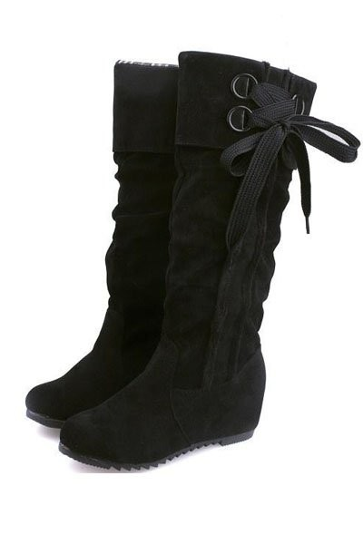 Black Suede Side Lace Up Slouchy Mid Calf Boots