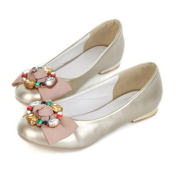 Faux Patent Leather Colorful Rhinestone Flower Decor Flats