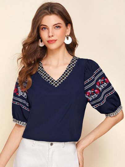 V-neck Tribal Embroidered Top