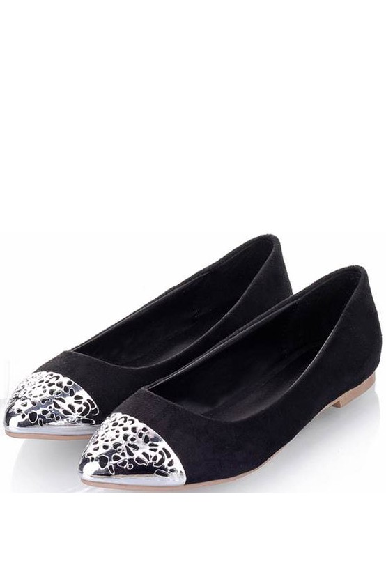 Stylish Black Perforated Detail Pointed Flats