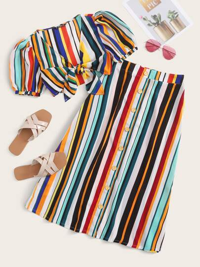 Tie Front Striped Top & Button Front Skirt Set