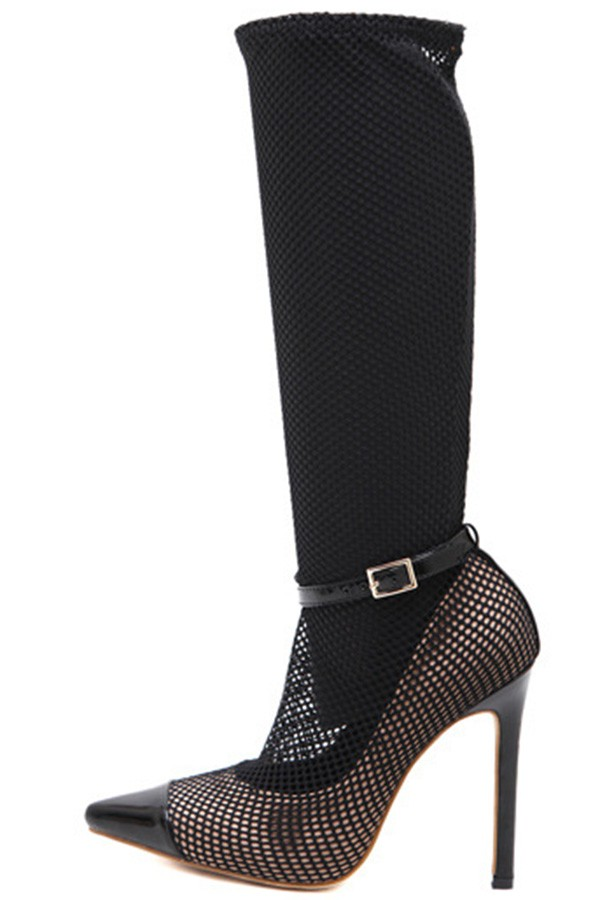 Black Mesh Net Pointed Toe Buckle Strap Stiletto Heel Boots