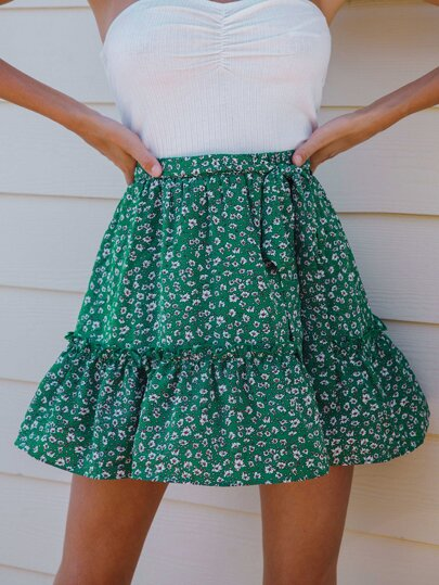Ditsy Floral Print Frill Trim Self Belted Skirt
