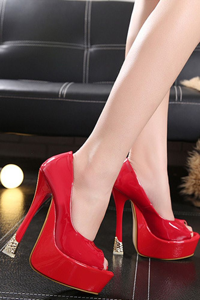 Red Faux Patent Peep Toe Platform Stiletto High Heel Pumps