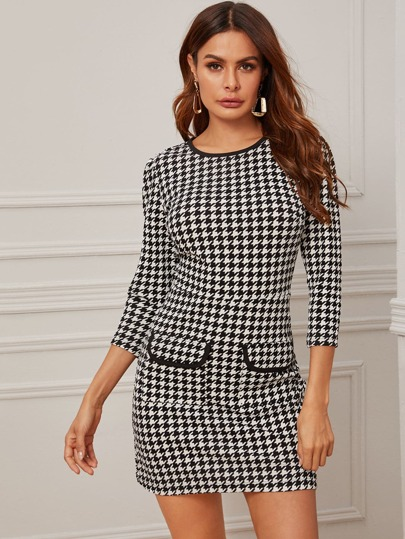 Contrast Binding Houndstooth Print Puff Sleeve Dress