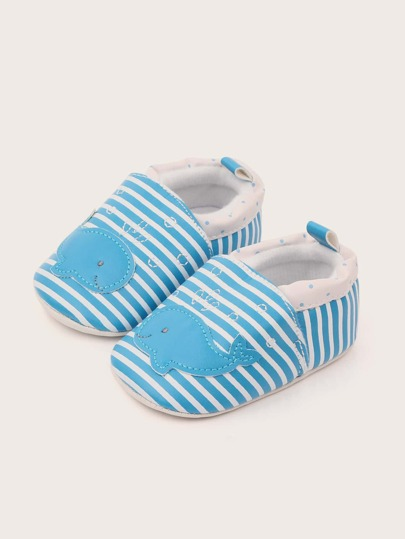 Baby Boy Dolphin Detail Striped Flats