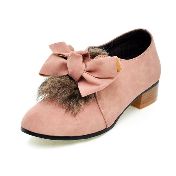 Faux Leather Faux Fur With Bow Decor Stylish Flats
