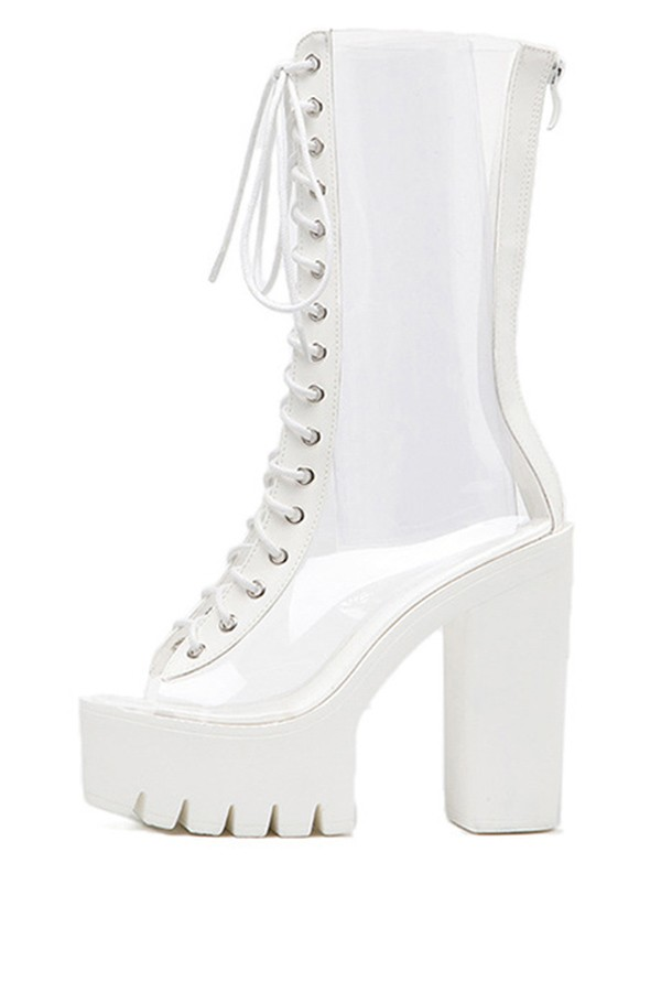 White Clear Peep Toe Lace Up Platform Chunky Heel Boots