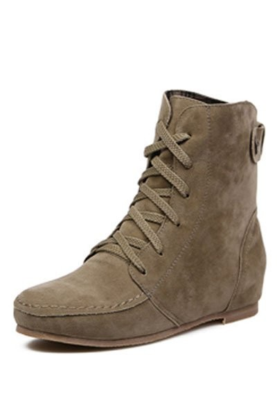 Khaki Suede Lace Up Flat Ankle Boots