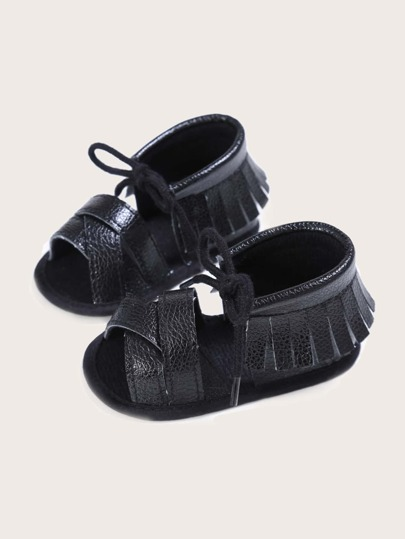Baby Girl Open Toe Fringe Decor Sandals