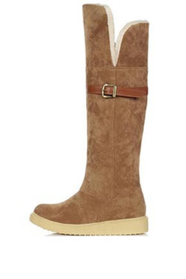 Brown Faux Suede Faux Fur Buckle Strap Boots