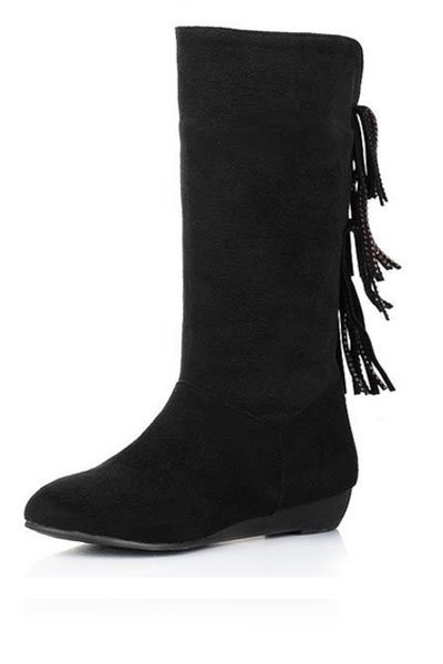 Black Suede Tassel Mid Calf Boots