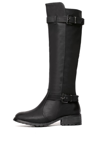 Black Pu Buckle Strap Knee High Riding Boots