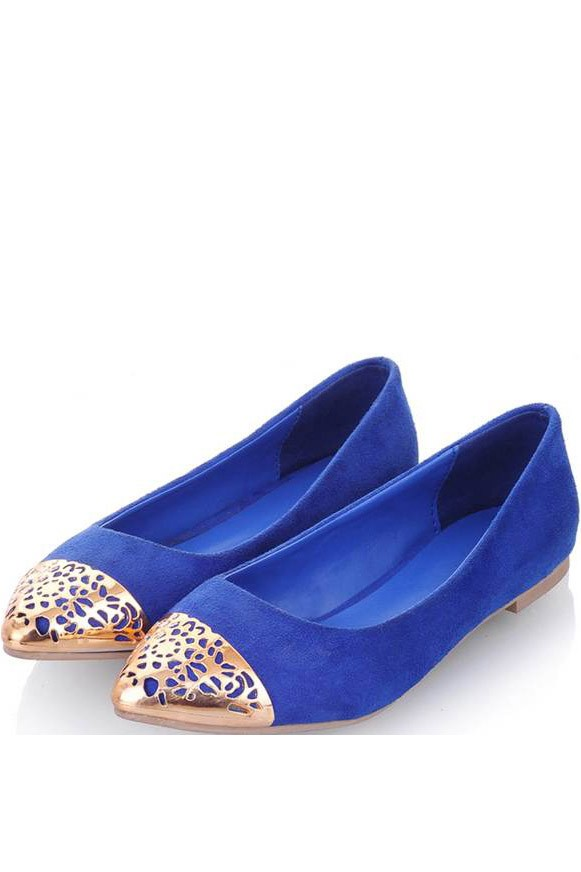 Stylish Blue Perforated Detail Flats