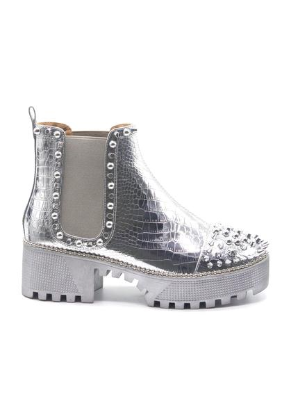 SPIKY METALLIC STUDS CHUNKY PLATFORM PULL ON ANKLE BOOTS-SILVER