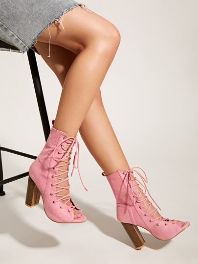 Peep Toe Lace-up Front Chunky Heeled Boots