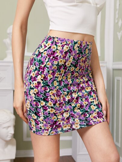 Ditsy Floral Mini Bodycon Skirt