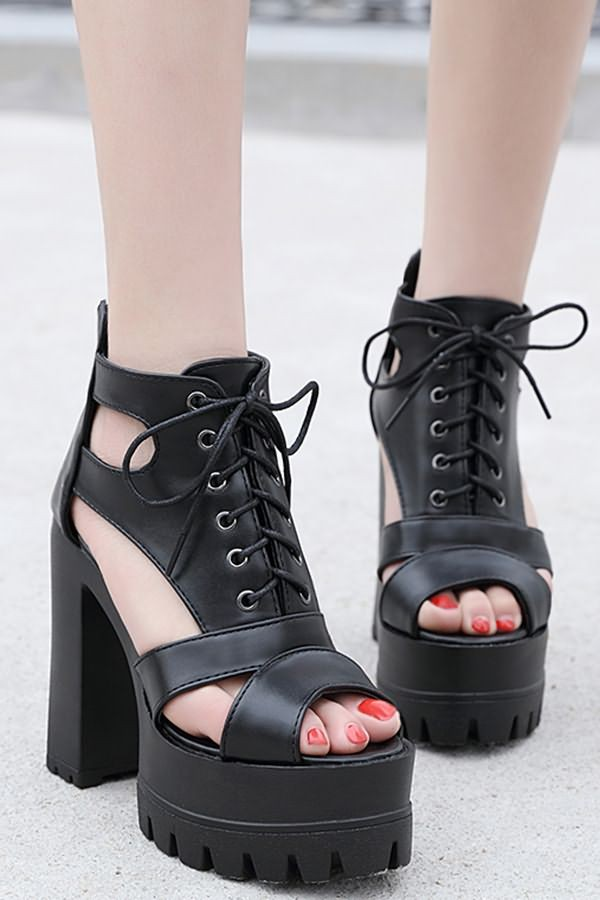 Black Lace Up Cutout Platform Peep Toe Chunky Heel Sandals