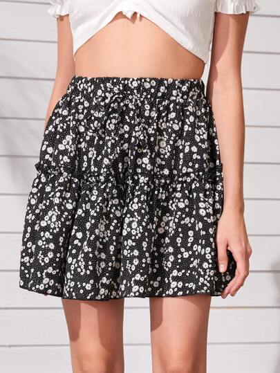Ditsy Floral Frill Trim Flare Skirt