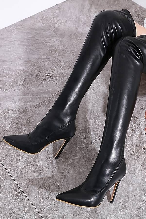 Black Pointed Toe Stiletto Over The Knee Boots