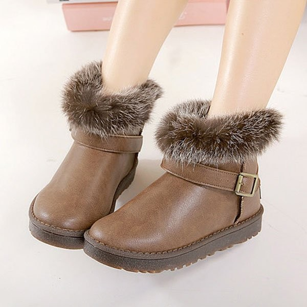 Coffee Pu Faux Fur Buckle Strap Ankle Boots