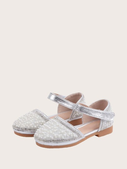 Girls Pearl Decor Two Part Flats