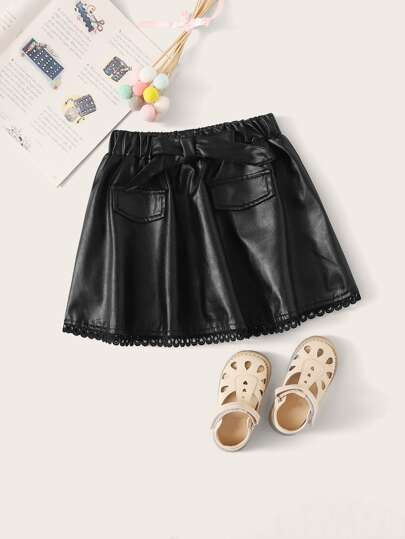 Toddler Girls Bow Front PU Leather Skater Skirt