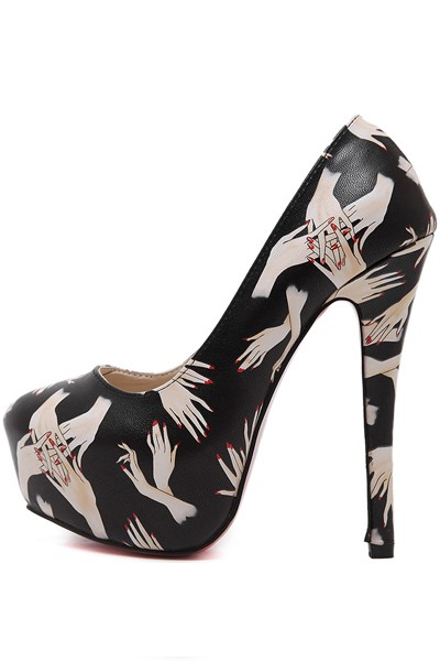 Black Graphic Print Hidden Platform Pump High Heels