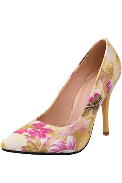 Yellow Patent Leather Floral Pattern Pump Heels