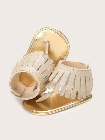 Baby Girl Fringe Decor Thong Sandals
