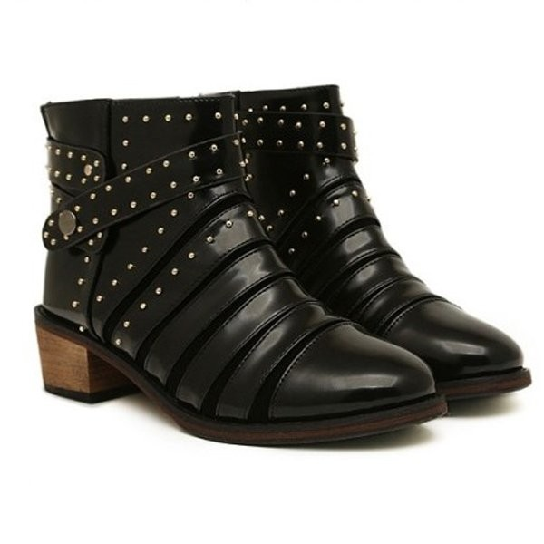 Black Faux Pu Buckle Strap Studded Square Heel Booties