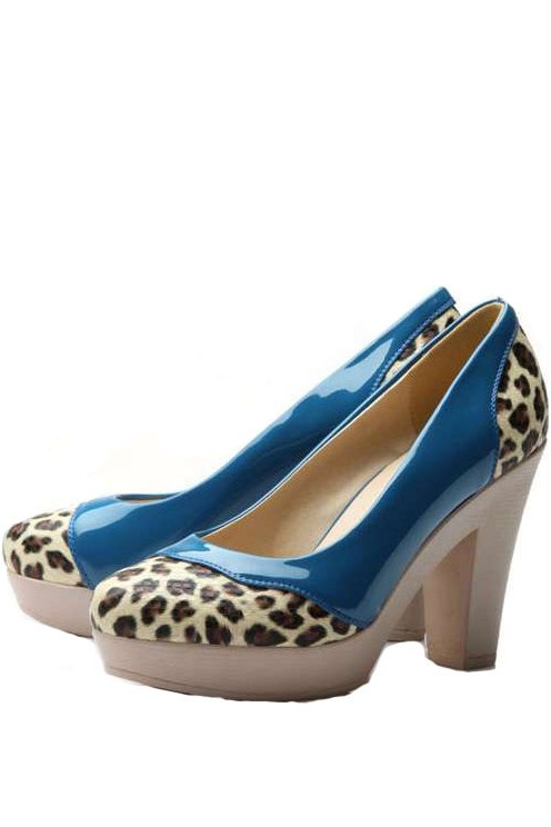 Blue Patent Leather Leopard Detail Chunky Heels