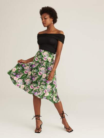 Button Front Fold Pleated Panel Asymmetrical Floral Skirt