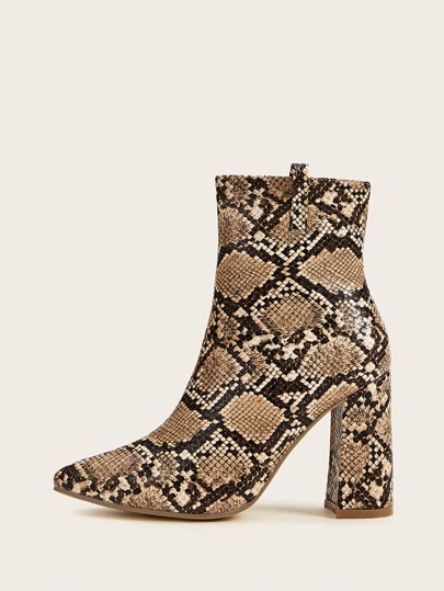 Point Toe Snakeskin Chunky Heeled Boots