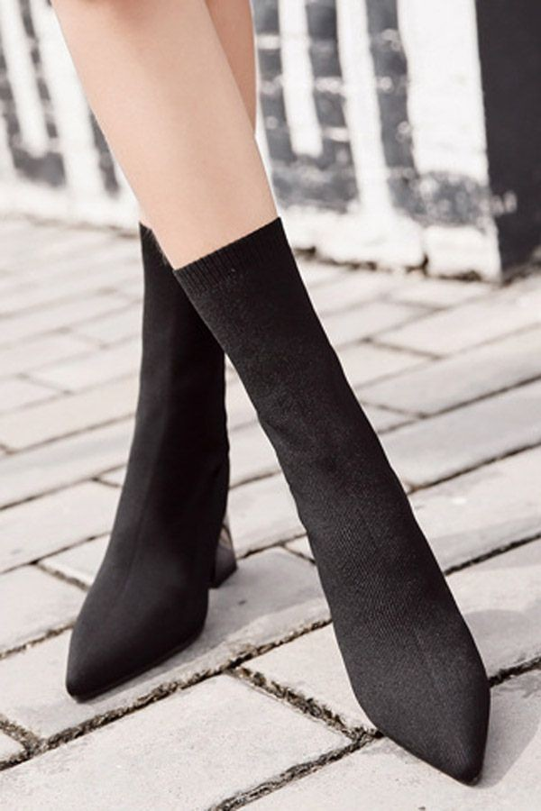 Black Pointed Toe Mid Calf Chunky Heel Sock Boots