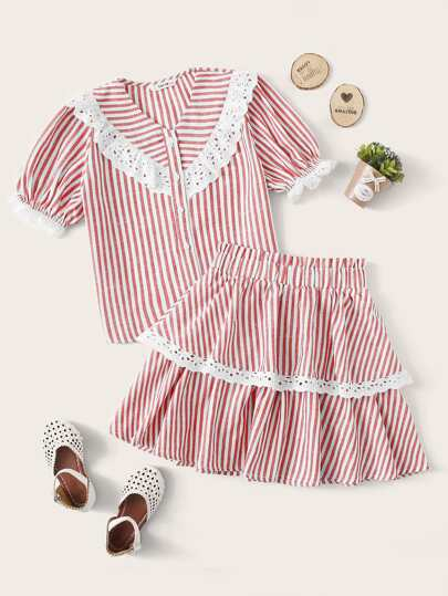 Girls Buttoned Front Schiffy Ruffle Trim Striped Blouse & Skirt Set