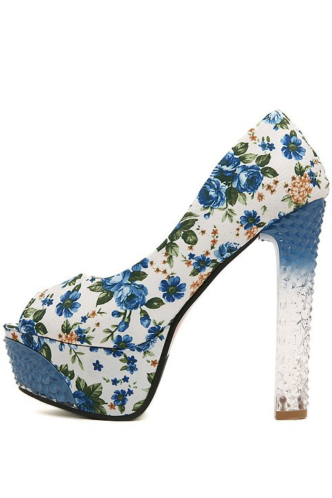 Blue Canvas Floral Print Peep Toe Lucite Pump Heels