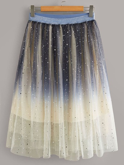 Plus Star Color-block Mesh Overlay Skirt