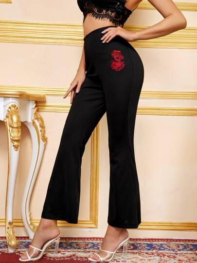 Zip Front Embroidery Flare Leg Pants